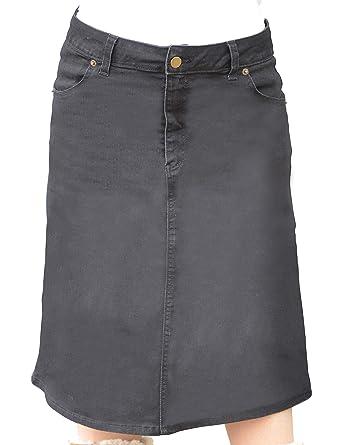 6cc11a92a Kosher Casual Women's Modest Knee Length A-Line Stretch Denim Skirt with  4-Pocket
