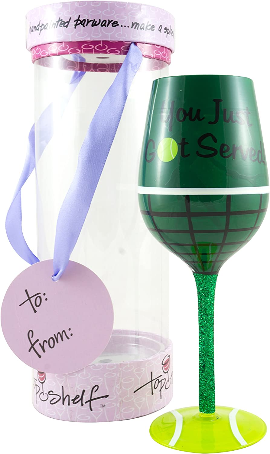 Amazon Com Top Shelf Tennis Wine Glass 15oz Green Tennis Wine Wine Glasses