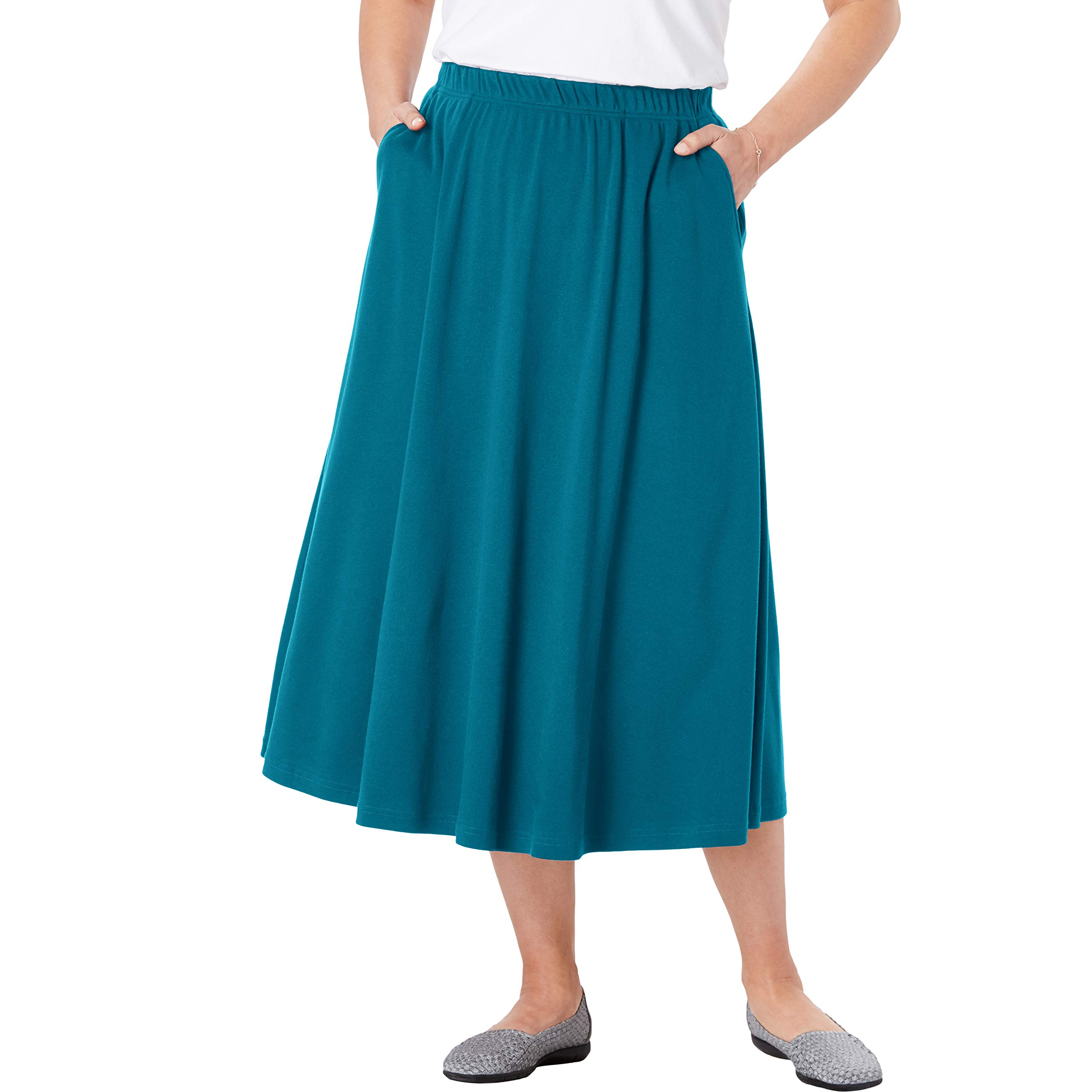 Woman Within Women's Plus Size Petite 7-Day Knit A-Line Skirt - Deep Teal, 1XP by Woman Within