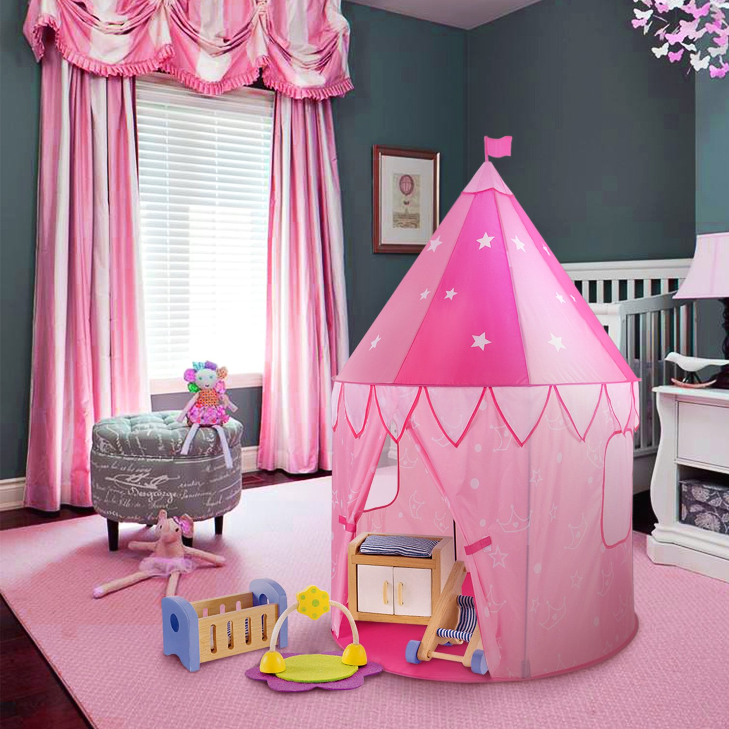 WolfWise Princess Castle Play Tent Glow in The Dark Stars Pop Up Pink Play Tent/House Toy Children Indoor & Outdoor Use Enhance Creativity Imagination