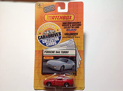 1989 Matchbox Porsche 944 Turbo Red With Official Car And Driver Collector Cards Made in Macau