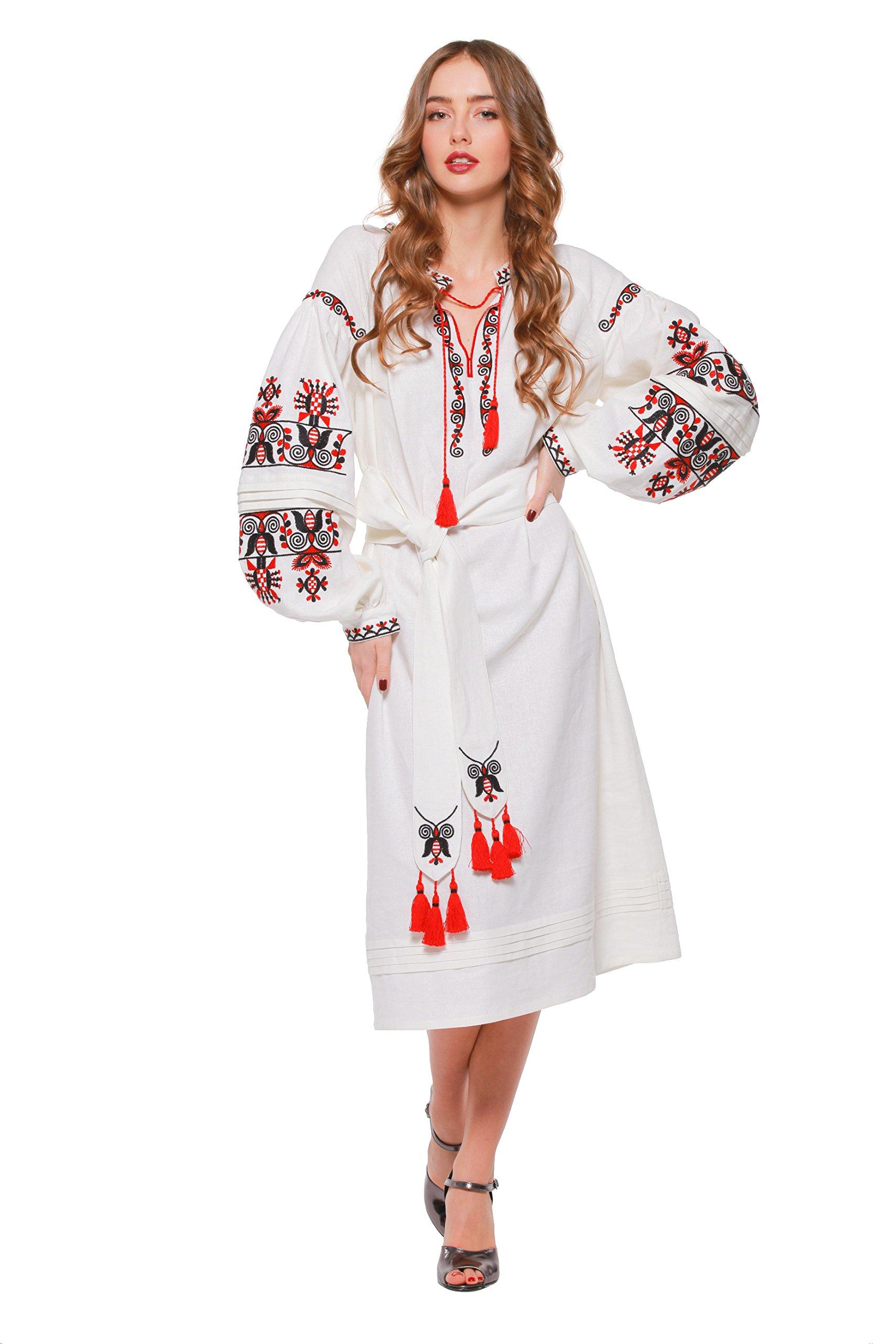2 Kolyory Embroidered Long White Woman Dress.Vyshyvanka Ukrainian Boho Style Dress (XL)