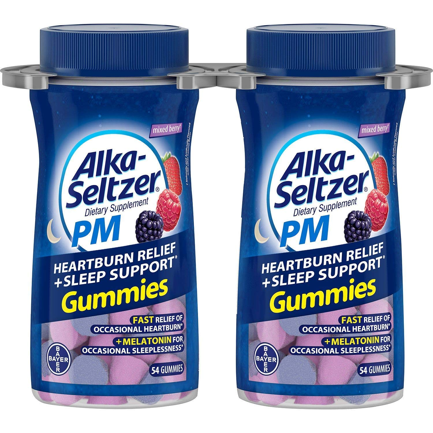 Alka-Seltzer PM Heartburn Relief + Sleep Support Gummies, Mixed Berry (108 ct.) by Alka-Seltzer