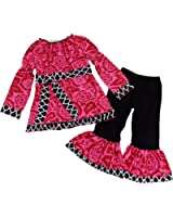 So Sydney Toddler & Girls Long Sleeve Ruffle 2 Pc Boutique Outfit, Top & Pants