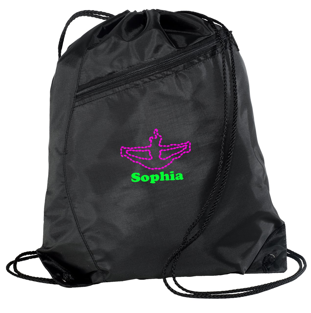 Personalized Cheer巾着カラーブロックCinch Packバックパック B018KWYITI ブラック/ブラック ブラック/ブラック