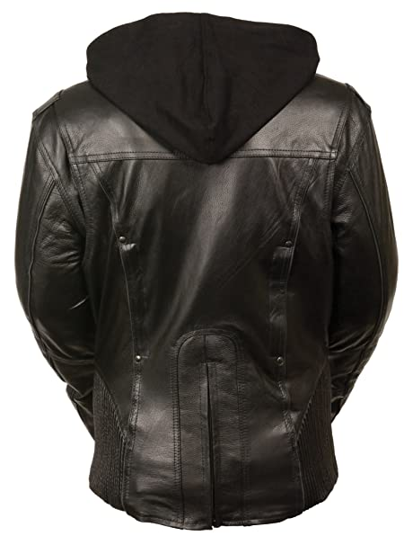Milwaukee Womens 3/4th Leather Jacket (Black/Black, Large)