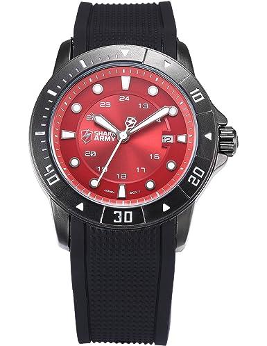 SHARK ARMY SAW096 - Reloj Hombre de Cuarzo, Correa de Silicona Negra: Amazon.es: Relojes