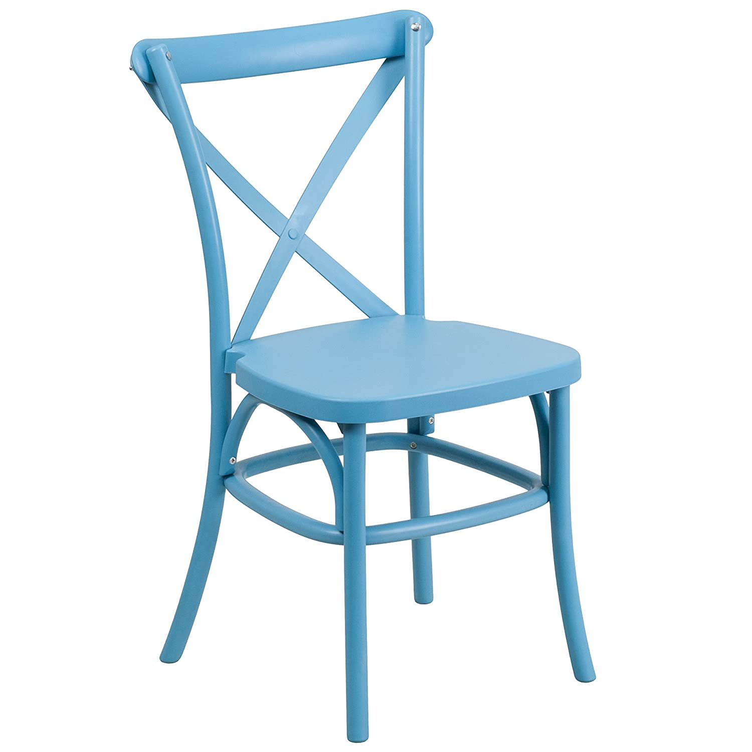 Amazon.com: Flash Furniture HERCULES Series Blue Resin Indoor Outdoor Cross  Back Chair With Steel Inner Leg: Kitchen U0026 Dining