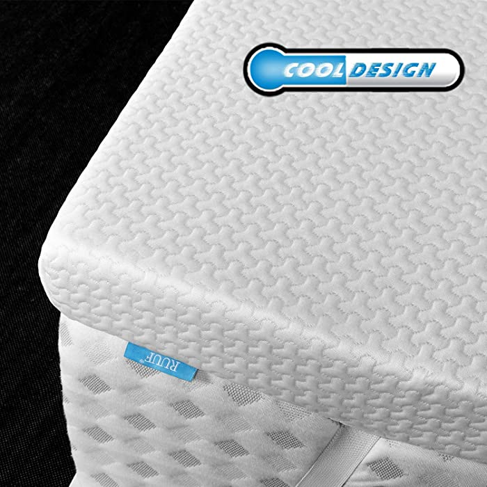 RUUF Memory Foam Mattress Topper Twin | 3-Inch High Density Active Cooling Bed Topper | Removable & Washable Hypoallergenic Cover | CertiPUR-US