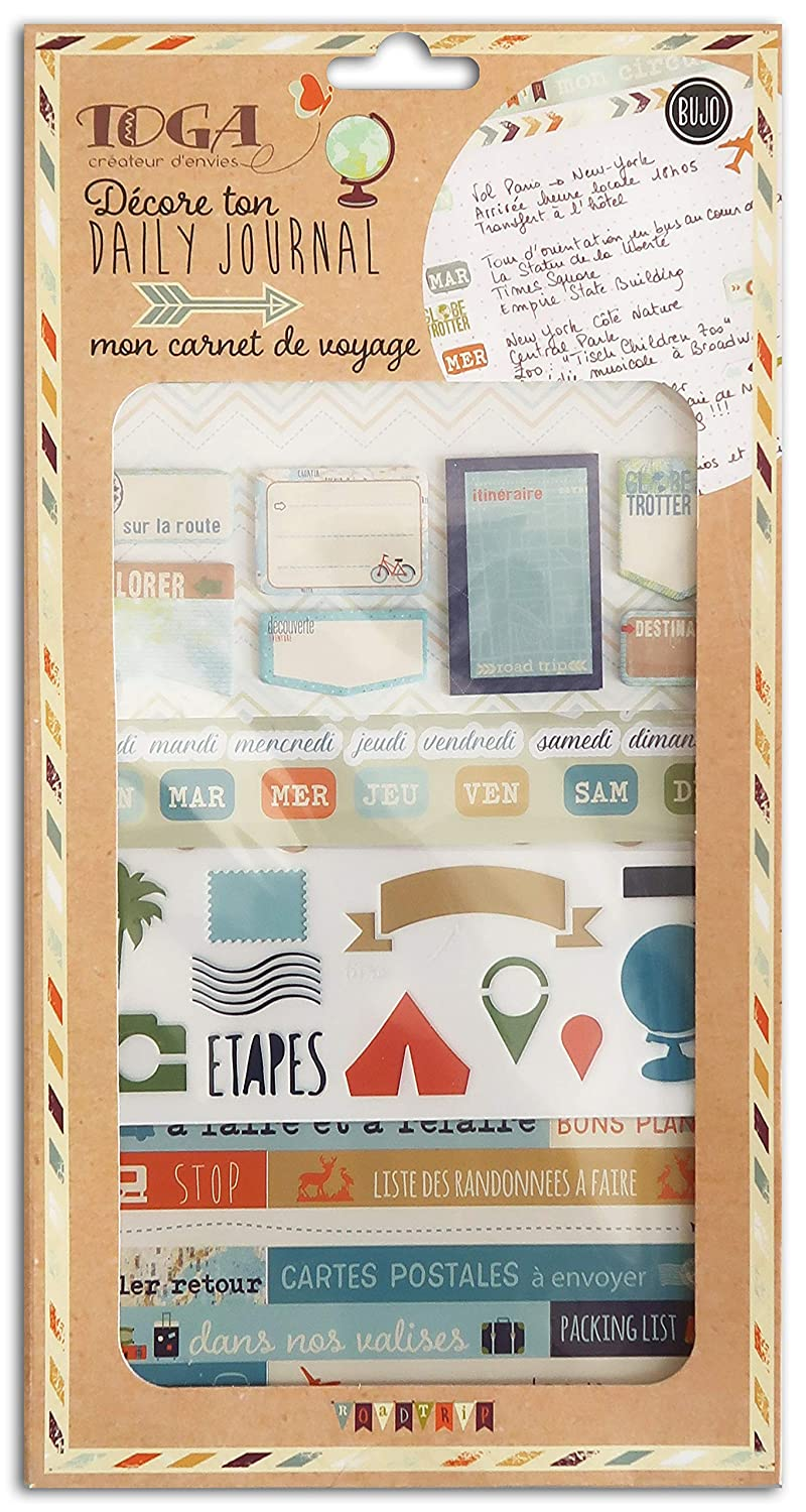 Toga Mon Carnet di viaggio Kit Accessori Bullet Journal, Carta/Plastica, bleu-beige-orange, Pack: 15,8  x 30,5  cm 8 x 30 5 cm KR84