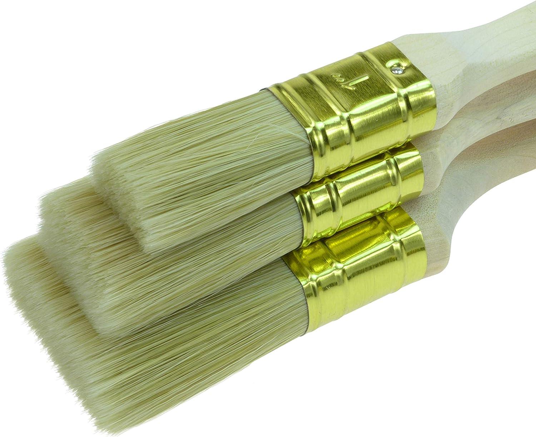 Negro 12 Pincel de pintura Juego de pinceles profesionales de 3 piezas grosor 3, 25 mm, 35 mm, 50 mm