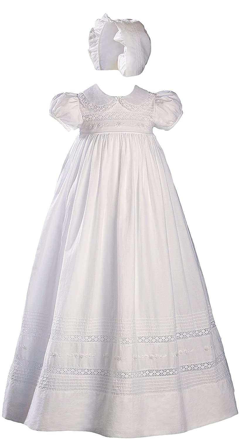 Image of 33' White Cotton Short Sleeve Christening Gown Baptism Gown with Hand Embroidery