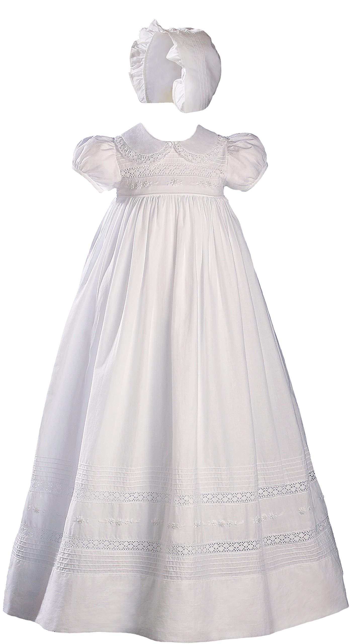 33'' White Cotton Short Sleeve Christening Gown Baptism Gown with Hand Embroidery 3M