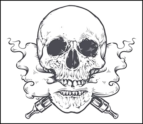 Vaping pen pencil sketch skull vinyl decal sticker 2