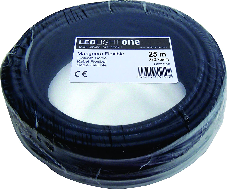 Cable H05VV-F Manguera 3x0,75mm 25m Negro