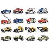 16 Piece Mini Diecast Assortment Vehicles Gift Pack Play Set