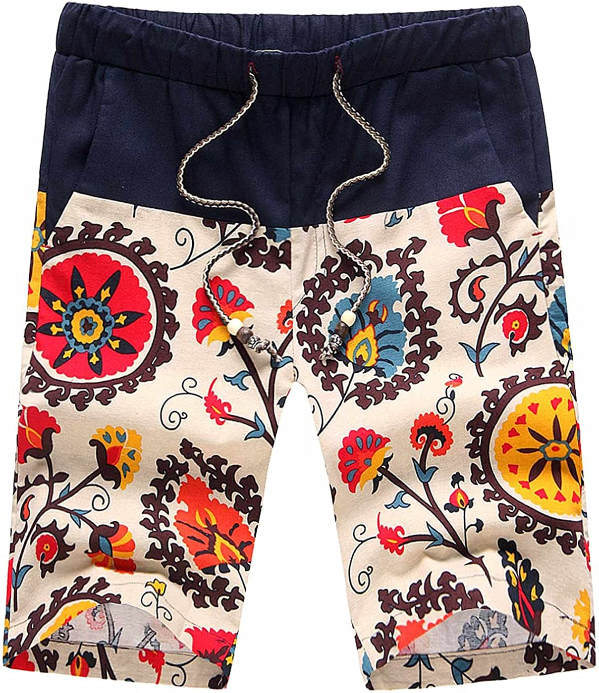 AIEOE Men Boardshorts Linen Floral Print Drawstring Quick Dry Hawaiian Shorts