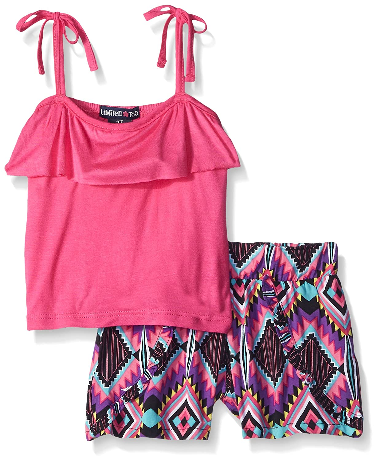 Limited Too girls Ruffle Cami Top and Rayon Print Short PF781