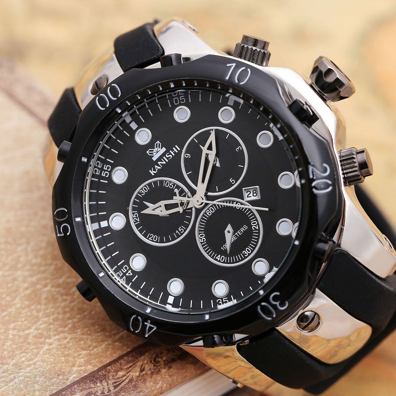 JSDDE Herren-Armbanduhr XL Herrenuhr Silikon Armband Kalenderuhr unecht Chronograph Analog Quarzuhr,Silber+Schwarz