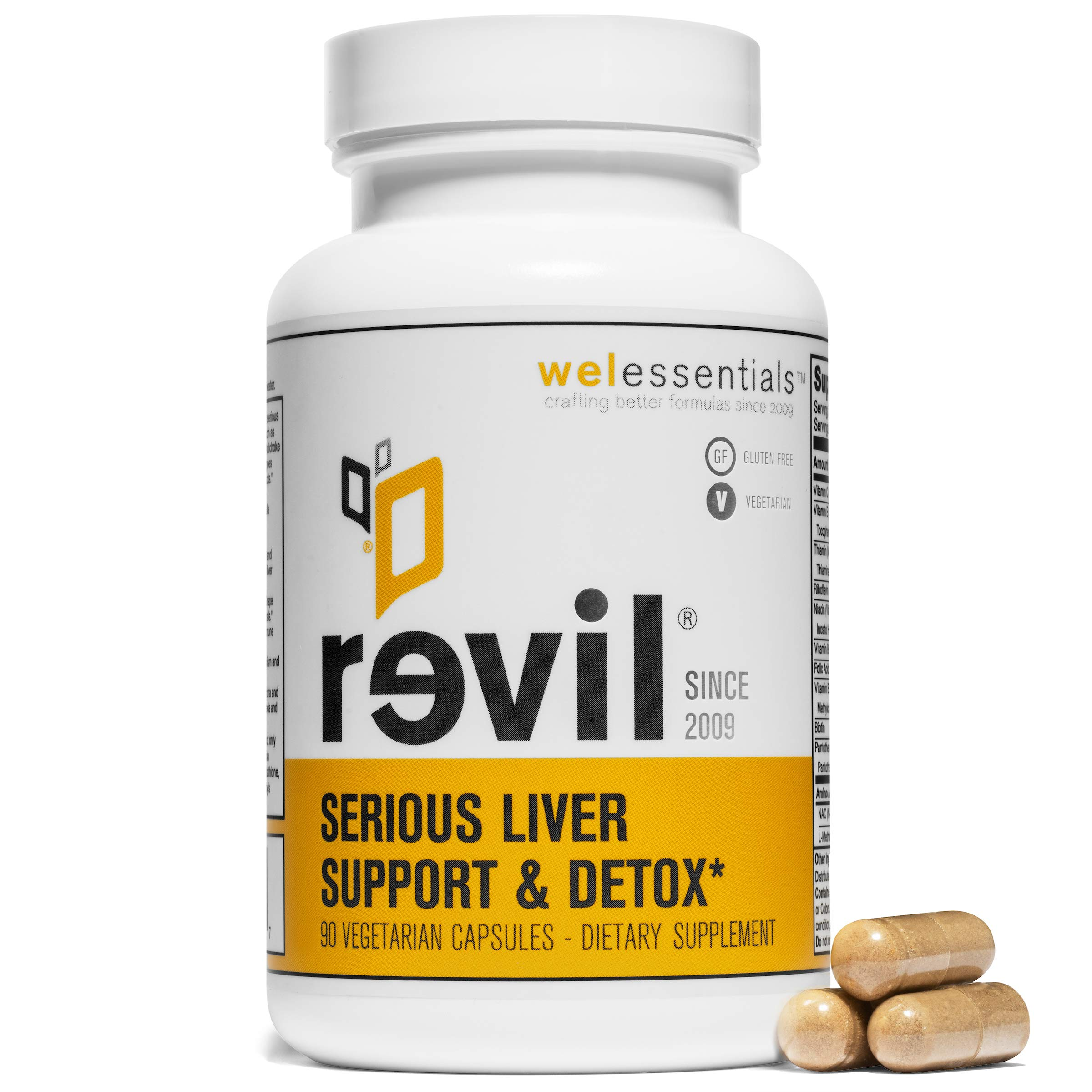 WelEssentials Revil Liver Detox and Herbal Support - 90 Vegetarian Capsules - Dietary Supplement with Organic Milk Thistle, Burdock, Vitamin C - 30 Day Detox - Gluten-Free