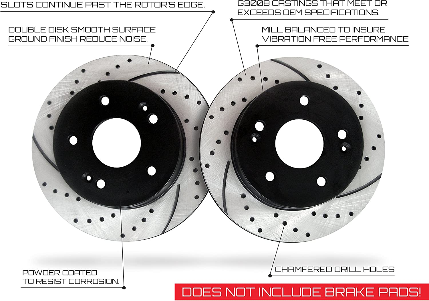 Front Pair Premium Performance Drilled and Slotted Disc Brake Rotors Approved Performance J27252R
