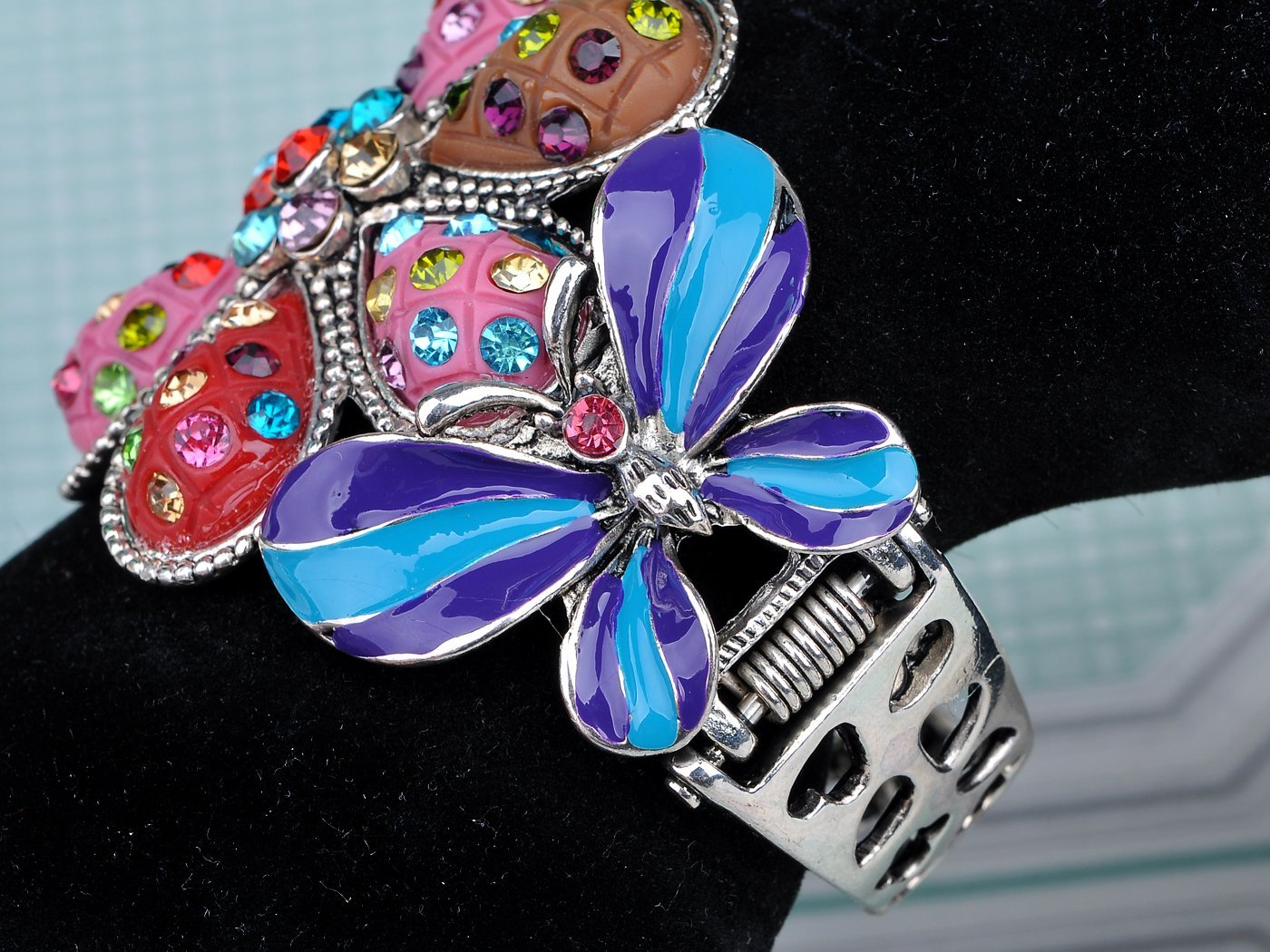 Alilang Multicolor Blue Enamel Floral Big Flower Twin Butterfly Insect Bangle Cuff Bracelet by Alilang (Image #3)