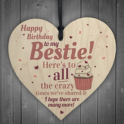 Amazon Xld Store Happy Birthday Bestie Funny Hanging Wooden