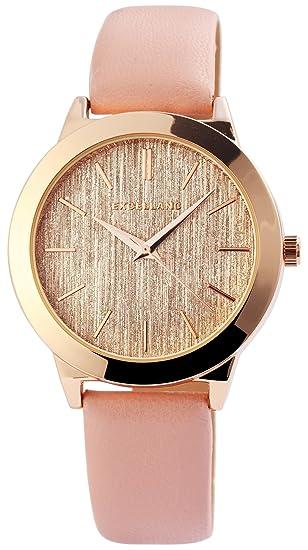 Reloj mujer oro rosa de pizarra Look analógico de cuarzo piel Reloj de pulsera