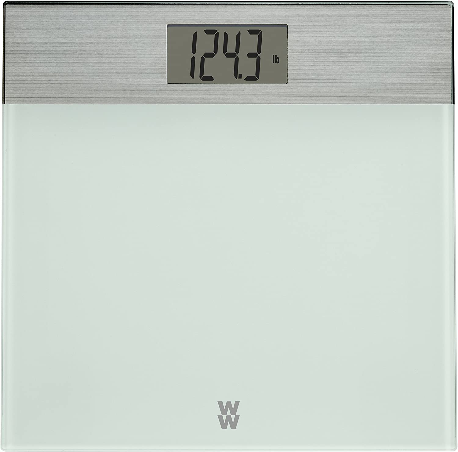 WW Scales by Conair Digital Weight Painted Glass and Brushed Stainless Steel Bathroom Scale, 400 Lbs. Capacity