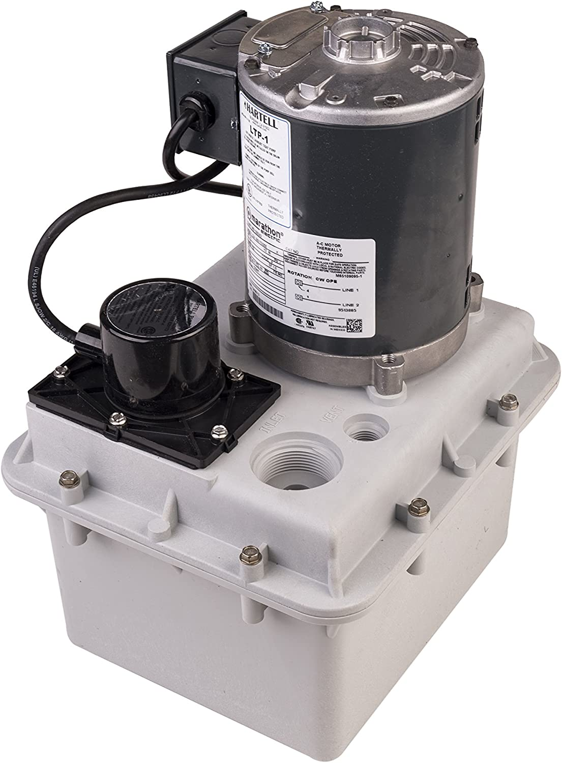 "LTP-1 Hartell Laundry Tray Pump, W/2 Gallon Reservoir, 115 Volt, 1/4 HP 1-1/2"" Inlet 1"" Outlet"