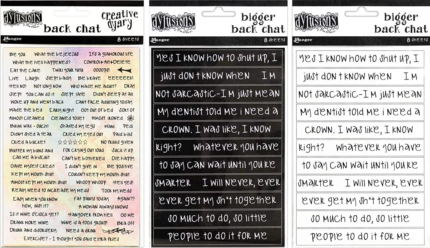 Black Bigger Back Chat and White Bigger Back Chat Dyan Reaveleys Dylusions Stickers Back Chat 3 Item Bundle Dyan Reaveley/'s Dylusions