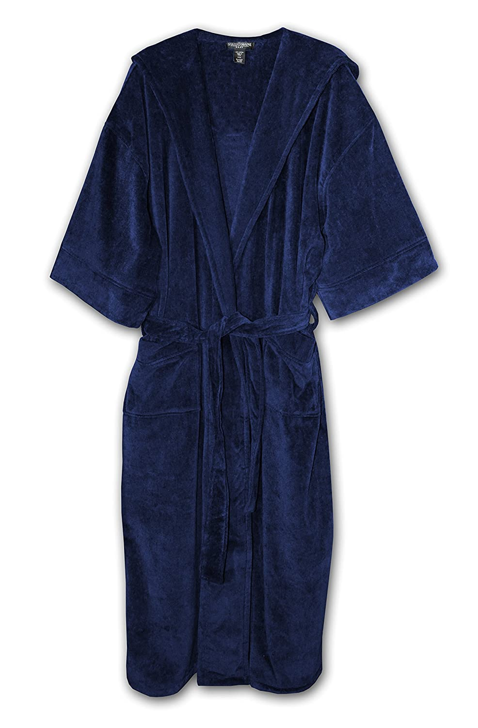 State O Maine Big and Tall Terry Velour Hooded Maxi Robe