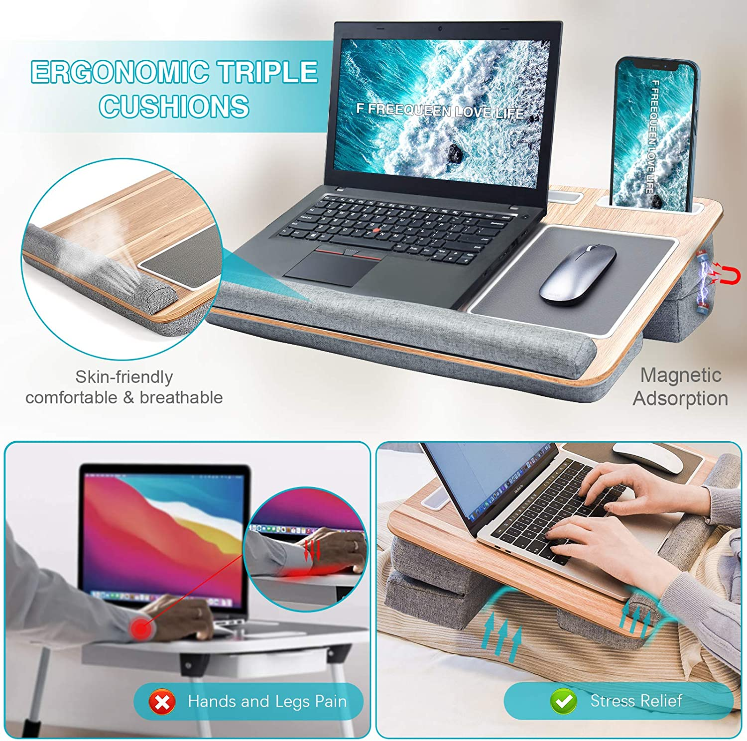 Travel Portable Laptop Table Multi-Function Computer Bed Trays for Kids Adults Student by FreeQueen Adjustable Laptop Desk with Triple Cushion/&Storage/&Wrist Rest Fits 12-17.3 Home Lap Desk