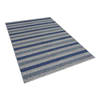 Amazon De Beliani Teppich Blau Grau 160 X 230 Cm Kurzflor Patnos