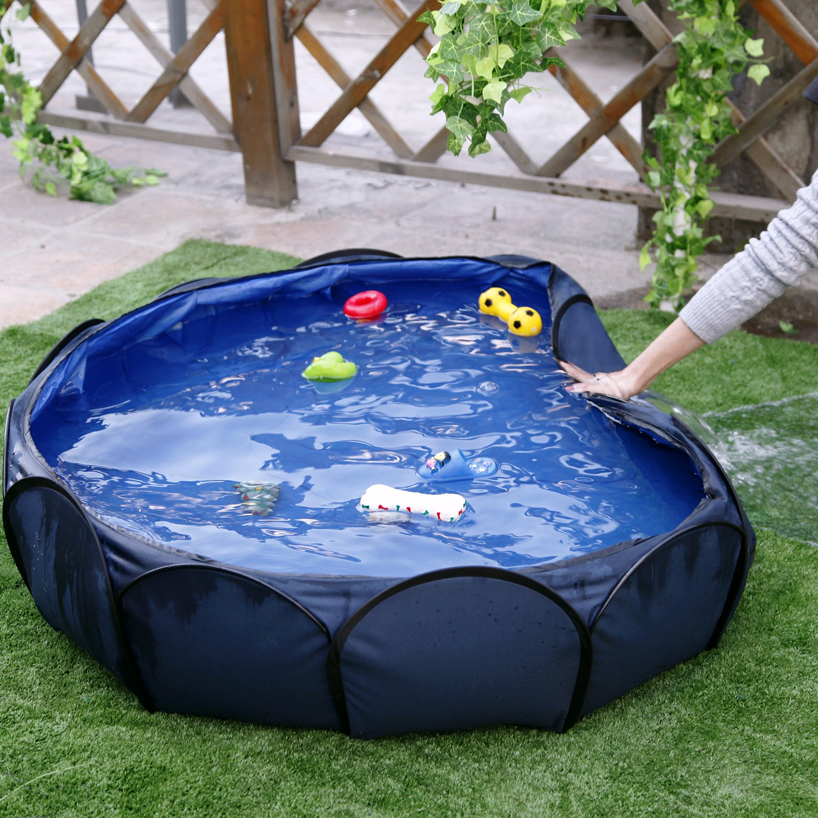 Petsfit 41'' Foldable and Portable Pet Swimming Pool/Outdoor Pet Bathing Tub Sky Blue