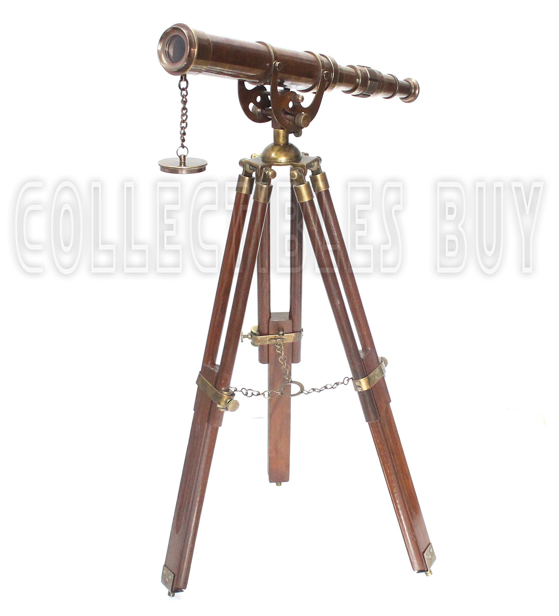 Vintage Antique Tripod Telescope Brass Nautical Telescopes Harbour Master Stand (Antique Finish)