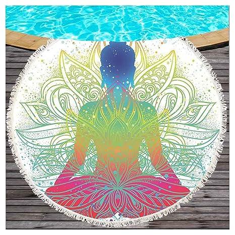 Multicolor Buda con Lotus playa redondas Topo con borlas Ombre Estilo Mandala Buda Meditación redondas playa