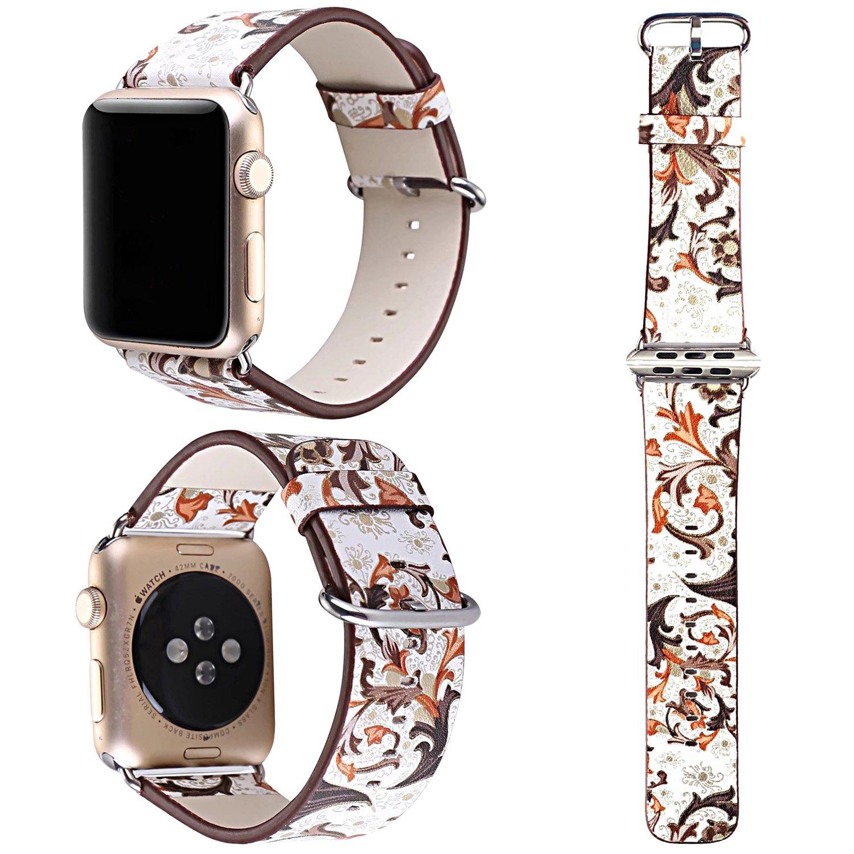 交換バンド アップルウォッチに対応 本革レザー,ZXK CO Apple watch Series3/Series2/Series1に対応 交換ベルト 花柄 アップルウォッチ バンド 38mm/42mm専用 おしゃれ エレガントなデザイン プレゼント 誕生日 B077HTYZ64 42|スタイル18 スタイル18 42