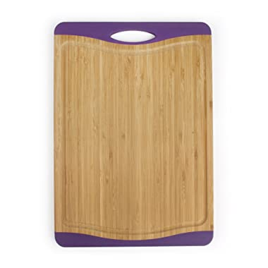 Neoflam Flutto 15  Bamboo Cutting Board with Non-Slip Edges and Drip Groove, Purple