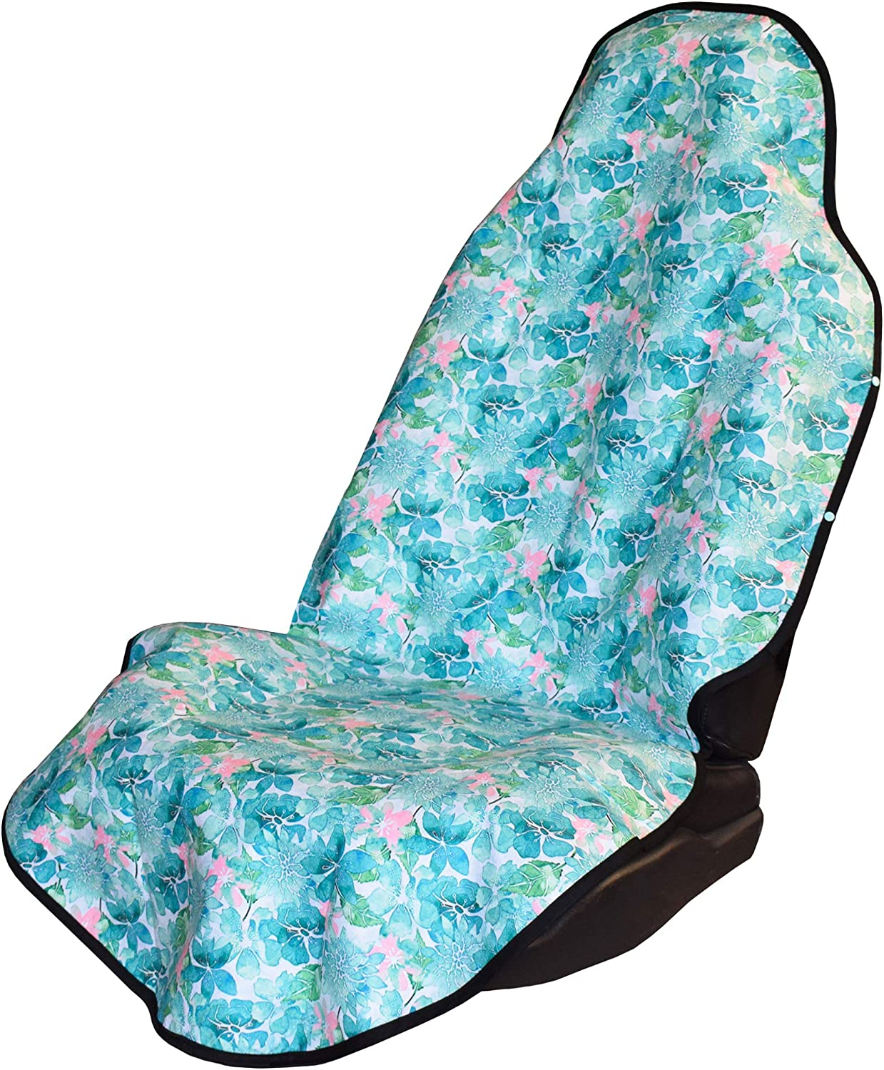 the beach perfect after swimming dogs-Pacific Floral Universal Fit Grippy Backing Machine Washable working out Seat Hoody surfing 100/% Waterproof Sweat Proof Car /& Truck Seat Cover Protector