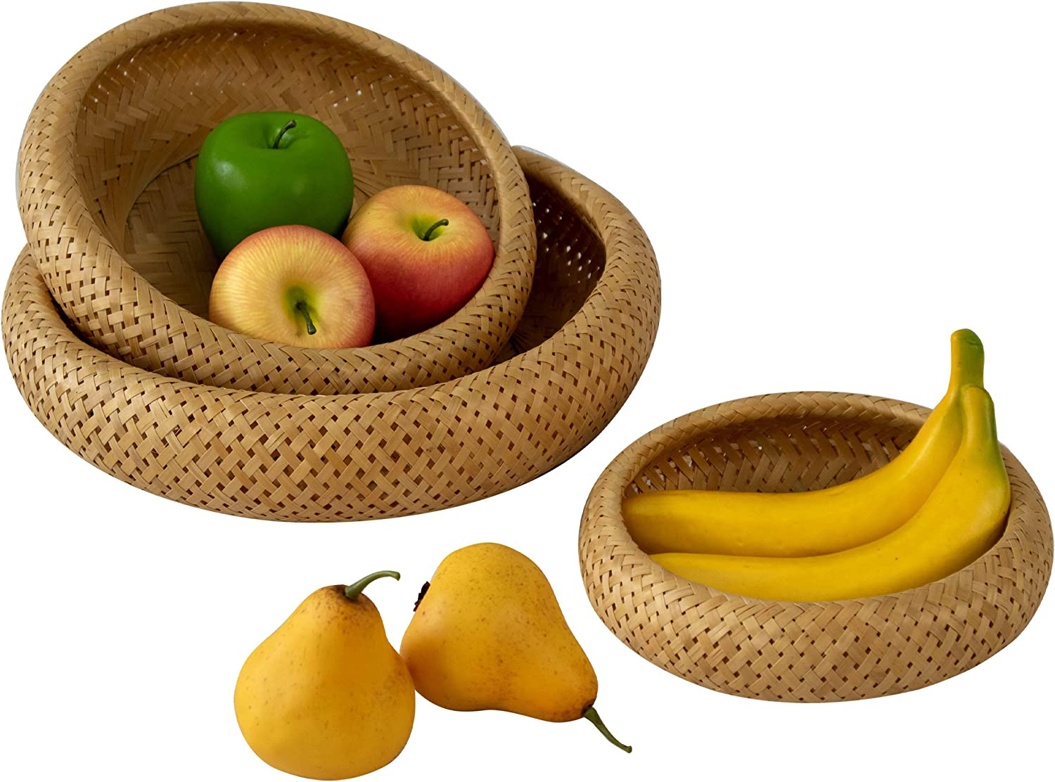 Bamboo Wicker Display Bowl - Hand Woven Shallow Fruit, Food, Bread Serving Basket | Rustic Key, Toy, Wallet, Entryway Table Storage Bowl| Circular Woven Decorative Straw Tray Basket (Set 3)