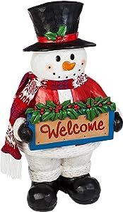 Evergreen Garden 41 inch Seasons Greetings Outdoor Safe LED Light-Up Snowman Greeter Garden Statue
