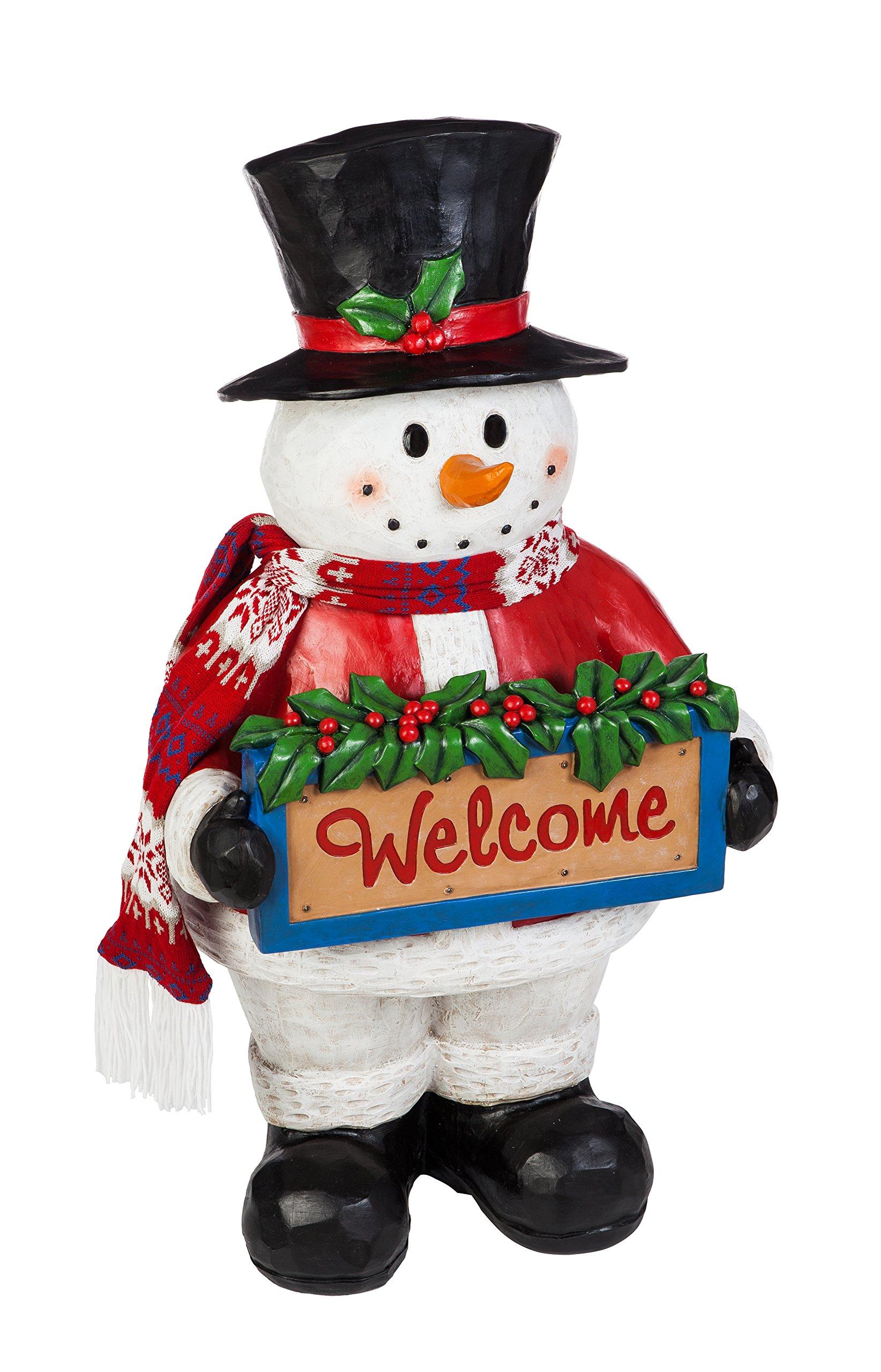 Evergreen Garden 41 inch Seasons Greetings Outdoor Safe LED Light-Up Snowman Greeter Garden Statue by Evergreen Garden