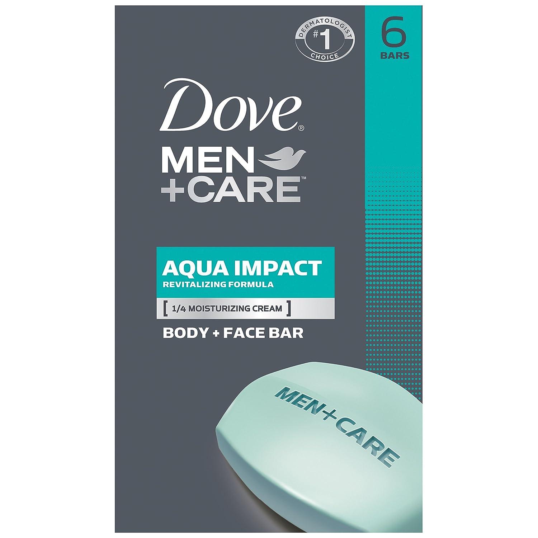 Dove Men+Care Body and Face Bar, Aqua Impact 4 oz, 6 Bar