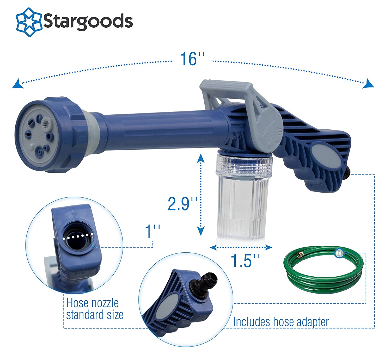 Stargoods Water Cannon Jet Spray Gun Multifunction Ez Pressure Wireless Fire Hose Nozzle Soap Dispenser Garden Outdoor