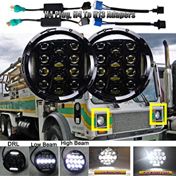 Amazon.com: Led Headlights Round 7 inch for Mack DM RM RW RS ... on