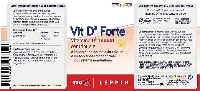 D3 Forte 2000ui 120 Pastillas - Vitamina D Ultra concentrée - imunité y ossature - Suplemento naturales: Amazon.es: Salud y cuidado personal