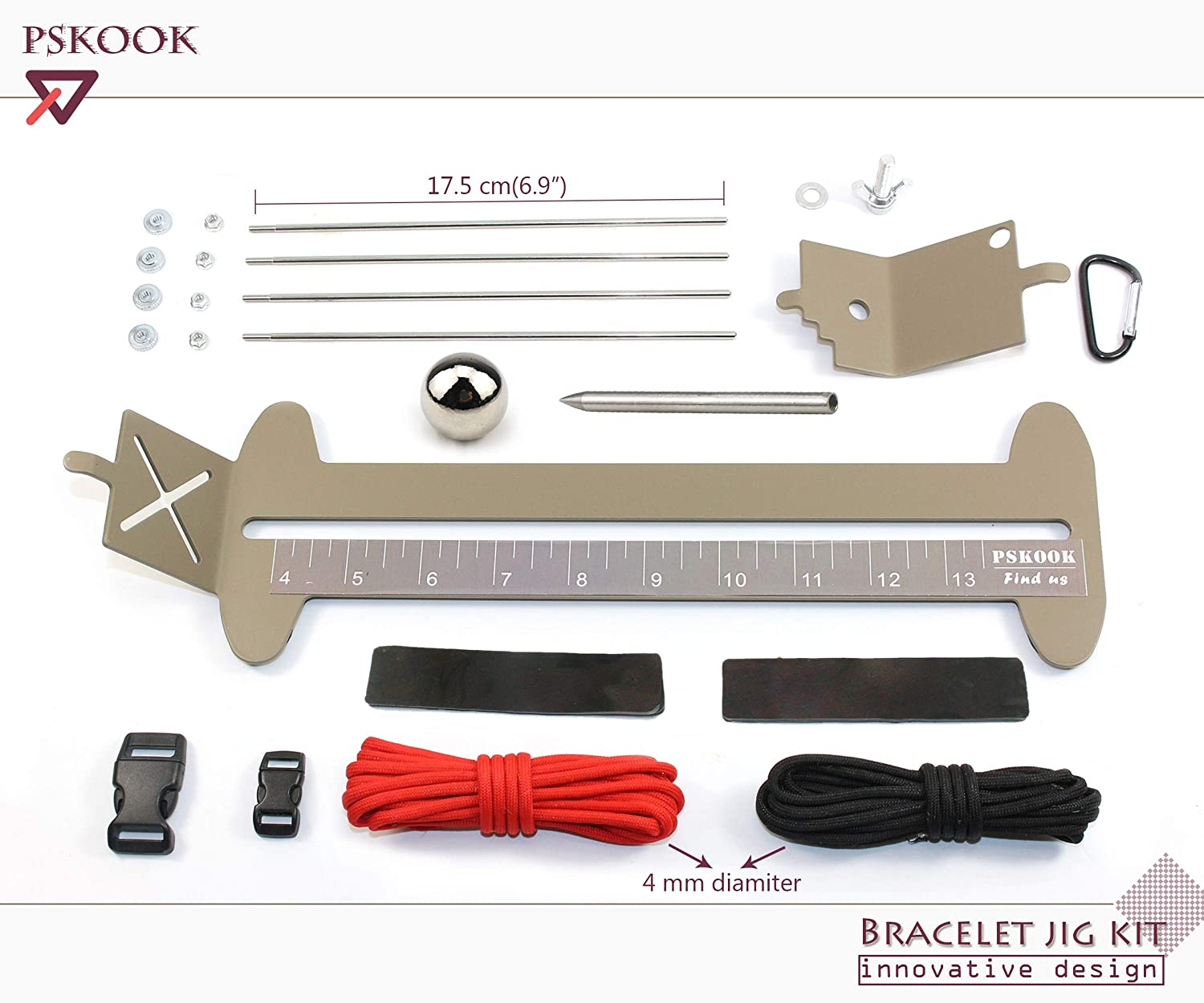 Paracord Monkey Fist Jig With Stainless Steel Adjustable Woven Tool Needle Kit