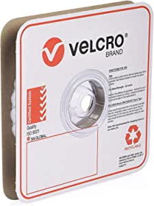 VELCRO Brand Industrial Strength VELCOINS Stick On Fastener - Loop Side Only with Pressure Sensitive Adhesive 0172 - Heavy Duty Professional Grade Hold 22mm x 25m Roll, 900 Dots, White