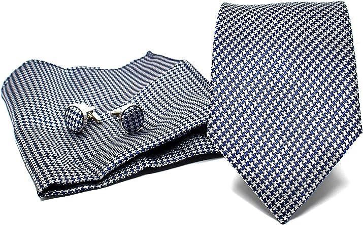 Corbata de hombre, Pañuelo de Bolsillo y Gemelos Azul Oscuro a Pata de Gallo - 100% Seda - Clásico, Elegante y Moderno - (Caja y Conjunto de Regalo, ...